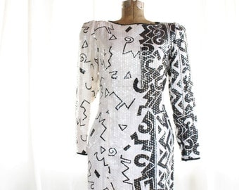 The Joan Jett Graphic Sequin Dress ~ Incredible 80s ~ FREE U.S SHIPPING
