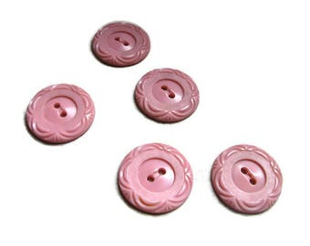 5 pink buttons with curves on the edges, 7/8 inch