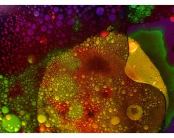 P92 - Psychedelic Trippy Bubbles, Violet Gold Emerald, Small Blank Liquid Lights Hippie Art Postcard Print for Mailing