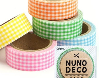 Cute Nuno Deco Iron-On / Adhesive Fabric Tape Checker Design - Japanese Craft Supply