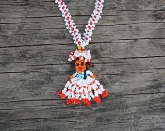 Vintage Native American Red and White Hand Beaded Girl Necklace from the American Southwest