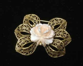 Victorian Revival Brooch 70s Vintage Rose Gold Filigree Bow Collar Pin