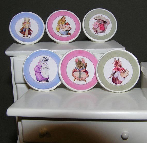 Beatrix Potter plate designs, paper minis, DIY kit from paper in miniature for the Doll House, Doll House, dollhouse miniatures
