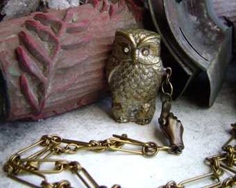 Owl vesta case assemblage necklace, owl matchsafe, owl jewelry, clasped hands, vintage vesta case, hand jewelry, vintage owl, AnvilArtifacts