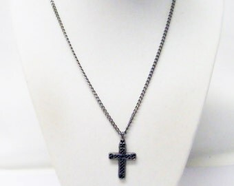Dark Antique Silver Plated Filigree Cross Charm Necklace