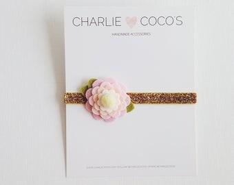 "Felt Flower Headband, Baby/Girls Felt Flower Headband, Felt Flower Glitter Headband by charlie cocos ""Pink and Peach"""