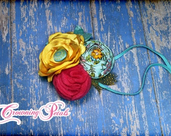 Aqua, Yellow, Fuchsia Pink Headband, Turquoise Hair Accessory, Baby Photo Prop, Fabric Flower Hair Clip, Hair Piece, Hairbow, Accessories