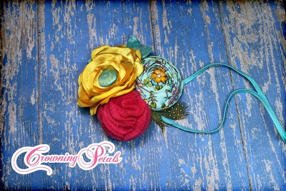 Aqua, Yellow, Fuchsia Pink Headband, Turquoise Hair Accessory, Baby Photo Prop, Fabric Flower Hair Clip, Hair Piece, Hairbow, Accessories