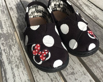 Black Minnie Mouse Polka Dot TINY TOMS with Red Bow