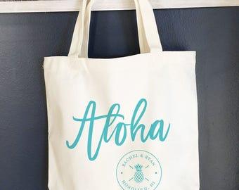 Hawaii wedding Tote bag, destination tote bag, Aloha pineapple tote bags, wedding tote, beach tote, welcome beach bag- 10 bags
