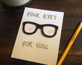 Four Eyes For You original greeting card
