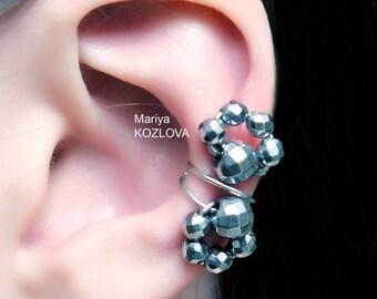 No Piercing Art Deco Flower Ear Cuff/cartilage conch earcuff/ear jacket ohr manschette/ohrklemme ohrclip/conch ear sweep crawler climber