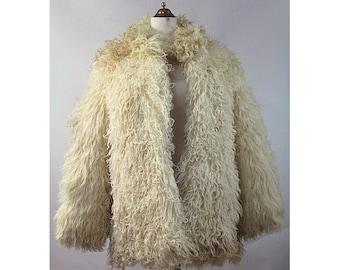 Vintage 1970s Curly Mongolian Lamb fur Coat  small  70s boho Lamb fur coat