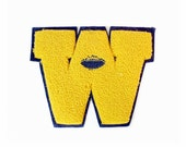 RESERVED for KIMBERLY Varsity Letter Patch - Letter W - Chenille Patch - Letterman Jacket patch - Football - Gold and Navy Blue