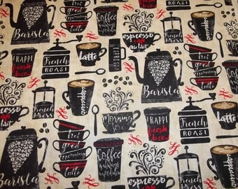 LATTE COFFEE and MORE   pattern  1 Yard Piece - 100% Cotton Timeless Treasures