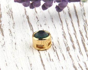 Emerald Green, Crystal String-on Bead, Slider Bead, Slider Crystal Bead, 1 piece // GB-171