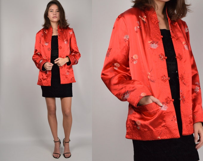 Vintage Chinese Satin Jacket Asian red black reversible