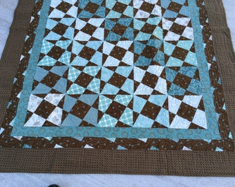 Once Upon a Dream Quilt, turquoise, brown, lap quilt, couch throw, wall hanging, handmade, MaterialThings2