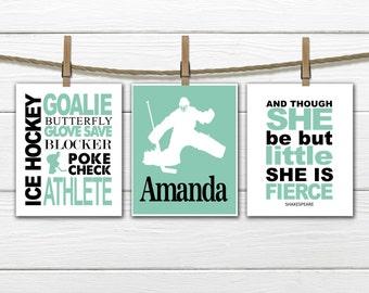 Ice Hockey Wall Art - GIRL Goalie  Wall Art Set - Girl's Ice hockey - female goalie
