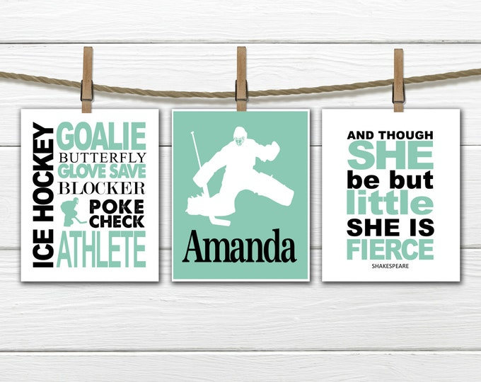 Ice Hockey Wall Art - GIRL Goalie  Wall Art Set - Girl's Ice hockey - female goalie