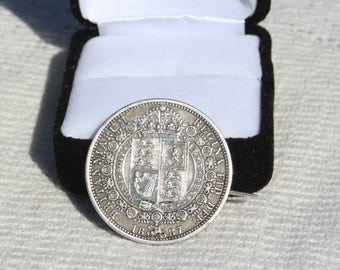 Antique Queen Victoria Silver Sixpence Brooch