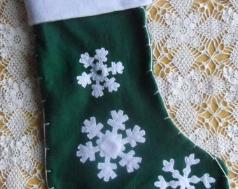 Vintage Christmas Stocking - Green and White Felt Stocking, Snowflake Stocking, Christmas Decor