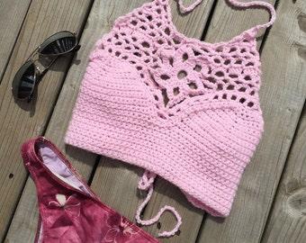 THE NERIDA - Crochet Halter Bikini Top - Festival top.  Indie.  Bohemian. Made in Canada.  Custom Colors & size.  Worldwide shipping.
