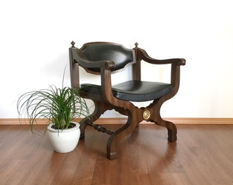vintage mid century curule chair. x base Spanish Renaissance style seating. retro furniture. throne armchair.
