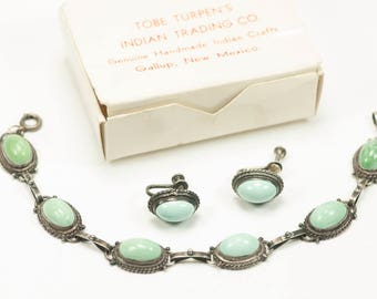 Tobe Turpen Native American Turquoise and Sterling Bracelet Earrings 1950s Navajo