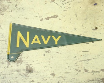 vintage 40s tin litho metal license plate topper sign NAVY us navy college