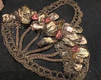Antique Ring Pillow Victorian Ring Bearer's Pillow with Bullion Flower applique