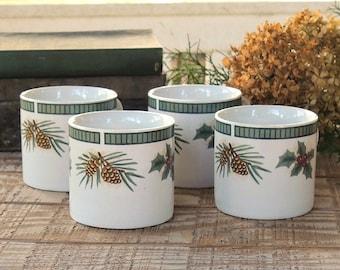 Fairfield Wintergreen Coffee Mugs Set of 4, Hot Cocoa Mugs, Flat Cups, Breakfast Set, Hostess Gifts
