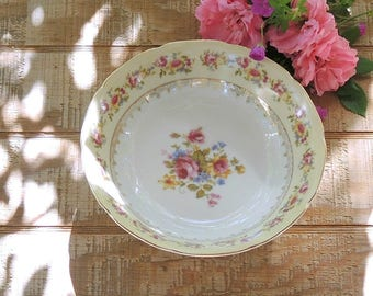 Vintage Gold Castle Hostess China Round Serving Bowl Mid Century Made in Japan