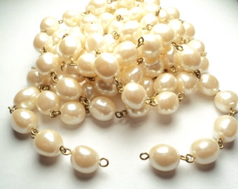 5 feet - Vintage 10mm baroque cultura acrylic pearl bead link chain - m99
