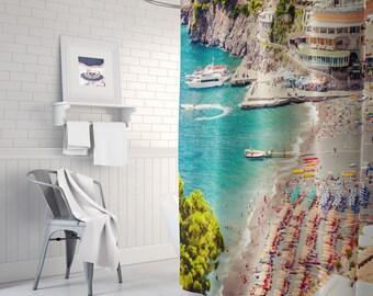 Beach shower curtain - bathroom decor, Summer, Italy, photography backdrop