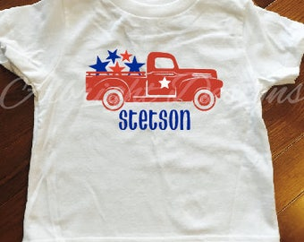 Red truck 4th of July shirt, Toddler 4th of July shirt, Patriotic shirt, Independence Day shirt, boy fourth of july truck