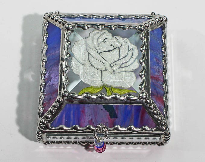 Etched, Hand Painted, Rose,Flower,Stained Glass, Keepsake Box,Jewelry Box