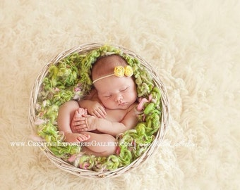 Yellow and off White Baby Flower Headband, Newborn Headband, Baby Girl Flower Headband, Photography Prop