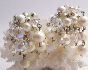 Laguna White Pearl and Crystal Aurora Borealis Cha Cha Clip Earrings