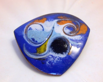Cobalt Blue Enamel Copper Abstract Brooch