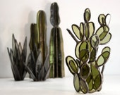 Stained Glass Cacti Sculptures // Stained Glass Prickly Pear Cactus