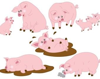 50% OFF SALE Pigs Clipart - Digital Vector Farm, Animal, Baby Pig, Pigs, Farm Piggy, Pigs Clip Art