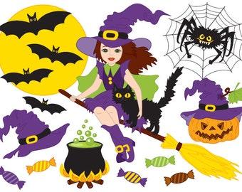 50% OFF SALE Halloween Clipart - Digital Vector Witch, Moon, Spider, Bat, Pot, Broom, Pumpkin Clip Art