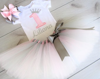 Personalized Baby Girls 1st Birthday/  Princess Crown/Any number/Pink and Silver Theme