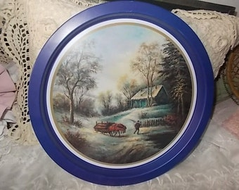 Tin Platter Rustic, Serving Platter, Cabin Tin Platter, Cabin Tin Platter, Round Tin Platter, Four Star International Trading Company :)s*