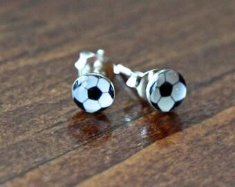 Soccer Ball Stud Earrings- Sterling Silver- Soccer Player jewelry- Soccer gift- Little Girl Jewelry