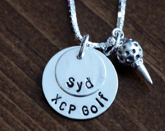 Golfers Name Team Necklace- Personalized golfers necklace- golf team necklace- golf coaches gift- golf team gift