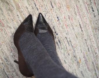Brown Suede & Snakeskin Stilettos - Size 4