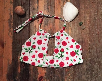 Roses/hearts and White, Reversible Halter Bikini
