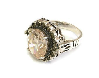 Vintage Danecraft Ring Sterling Silver & Marcasite  Gallery Champagne CZ ring, Sz 5 Halo Setting